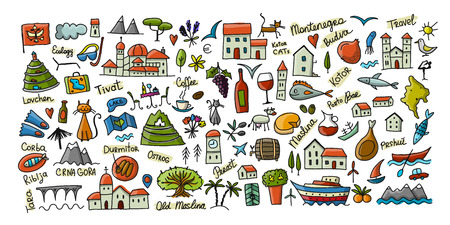 Travel to Montenegro, icons collection for your design. Vector illustration