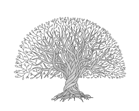 Big tree with roots for your design. Vector illustration Çizim