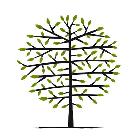 Art tree for your design. Vector illustration