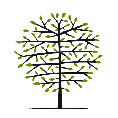 Art tree for your design. Vector illustration