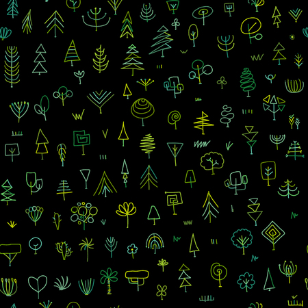 Seamless pattern with trees, sketch for your design. Vector illustration Banque d'images - 111173912