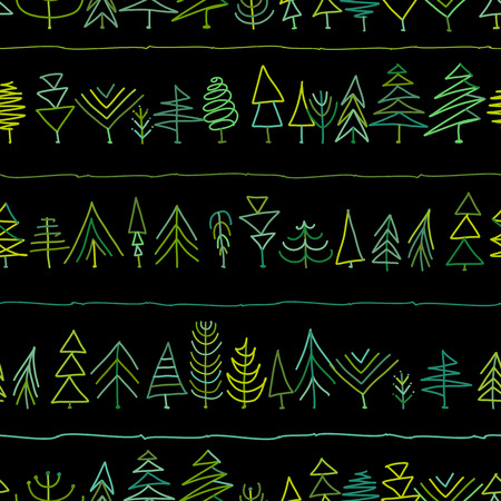Seamless pattern with trees, sketch for your design. Vector illustration Banque d'images - 111173914