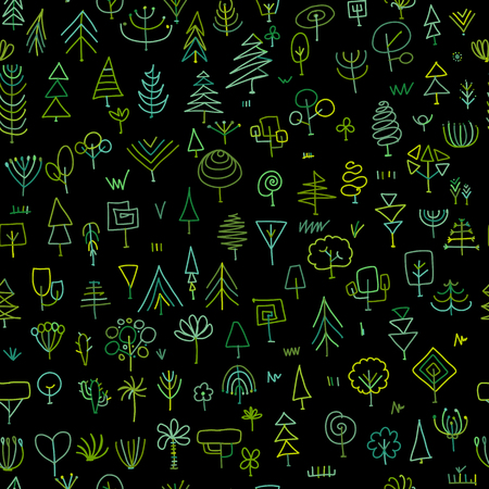Seamless pattern with trees, sketch for your design. Vector illustration Banque d'images - 111173918