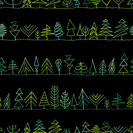 Seamless pattern with trees, sketch for your design. Vector illustration Banque d'images - 111173920