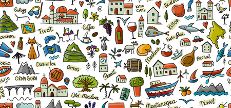 Travel to Montenegro, seamless pattern for your design. Vector illustration