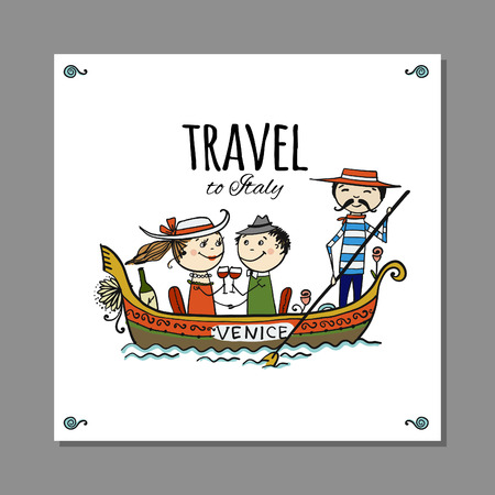 Travel to Italy. Greeting card for your design. Vector illustration 스톡 콘텐츠 - 128174879