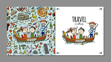 Travel to Italy. Greeting card for your design. Vector illustration