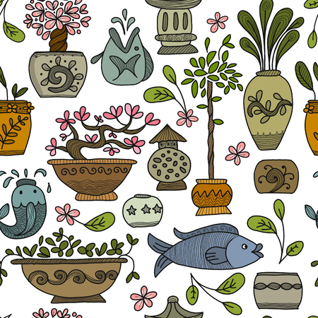 Asian garden with plants in ceramic pots, seamless pattern for your design. Vector illustration