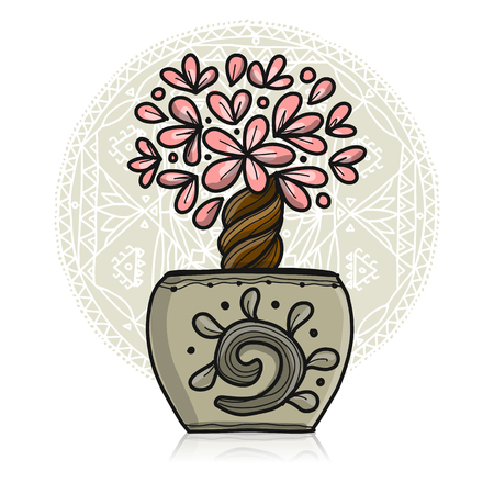 Floral tree in pot. Vector illustration Stock Vector - 111271131