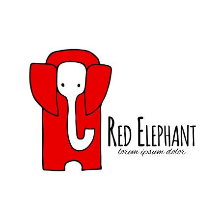 Red elephant design. Vector illustration Illustration
