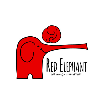 Red elephant design. Vector illustration Illustration