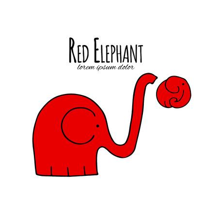 Red elephant design. Vector illustration Foto de archivo - 111271138