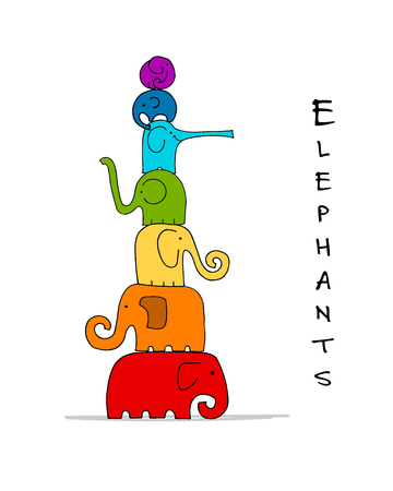 Elephants family design. Vector illustration