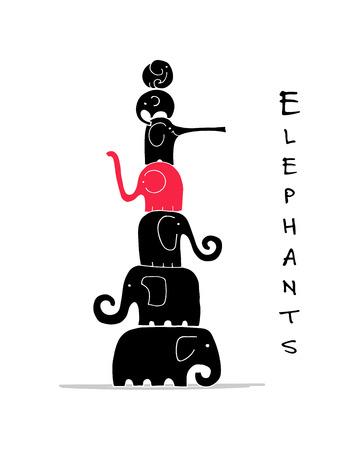 Diseño de familia de elefantes. Ilustración vectorial