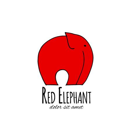 Red elephant design. Vector illustration Stock Photo