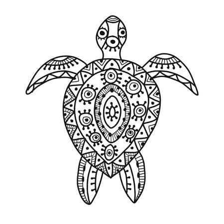 Tortuga adornada para su diseño. Ilustración vectorial