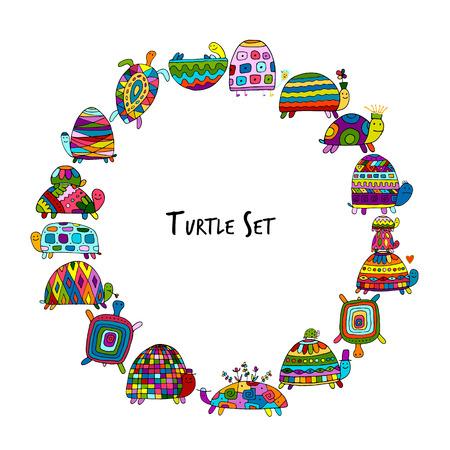 Funny turtles set, sketch for your design. Vector illustration