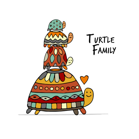 Funny family, turtle with chidren, sketch for your design. Vector illustration Illustration