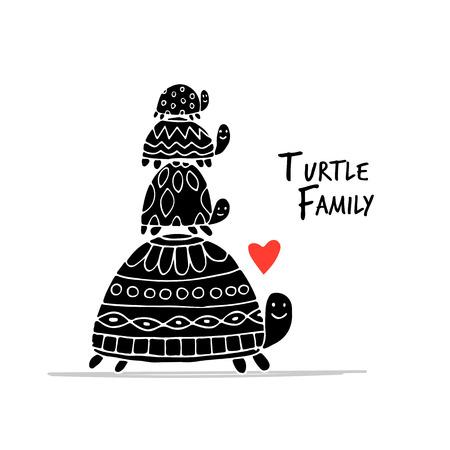 Familia divertida, tortuga con niños, boceto de su diseño. Ilustración vectorial
