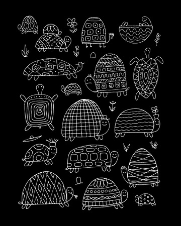 Funny turtles collection, sketch for your design. Vector illustration 일러스트