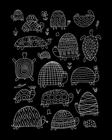 Funny turtles collection, sketch for your design. Vector illustration Illustration