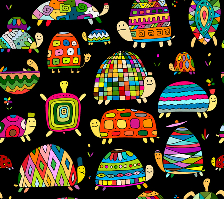 Funny turtles collection, seamless pattern for your design. Vector illustration  イラスト・ベクター素材