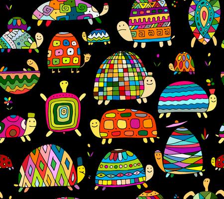 Colección de tortugas divertidas, patrones sin fisuras para su diseño. Ilustración vectorial