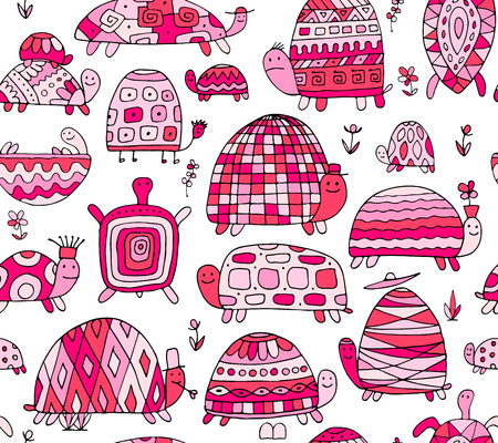 Funny turtles collection, seamless pattern for your design. Vector illustration Stock Illustratie