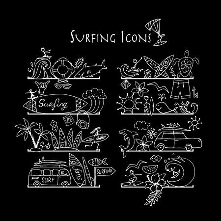 Colección de iconos de surf. Estantes para su diseño. Ilustración vectorial Ilustración de vector