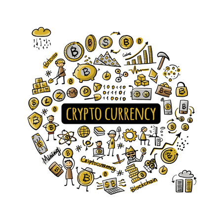 Bitcoin, cryptocurrency and blockchain technology, frame for your design. Vector illustration