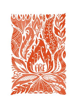 Four elements concept. Fire design background. Vector illustration