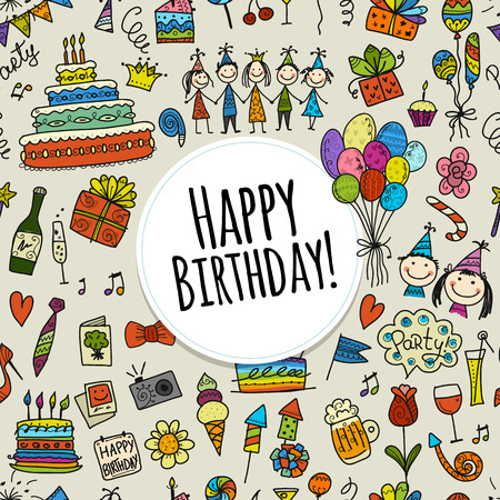 Birthday party, seamless pattern for your design