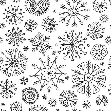 Copos de nieve dibujados a mano, patrones sin fisuras para su diseño. Ilustración vectorial