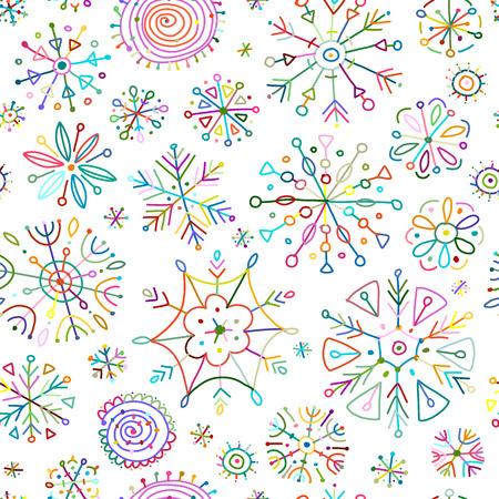 Copos de nieve dibujados a mano, patrones sin fisuras para su diseño. Ilustración vectorial Ilustración de vector