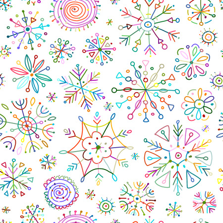 Flocons de neige dessinés à la main, modèle sans couture pour votre conception. Illustration vectorielle Vecteurs