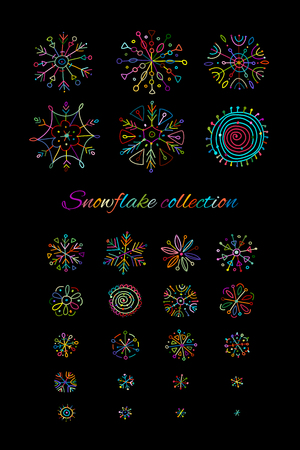 Hand drawn snowflakes collection for your design. Vector illustration