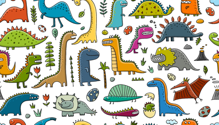 Funny dinosaurs, childish style. Seamless pattern for your design. Vector illustration  イラスト・ベクター素材