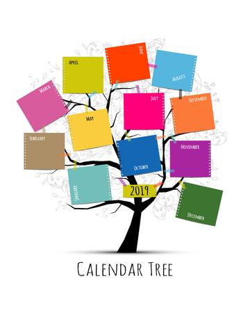 Calendar tree 2019 design, vector illustration.
