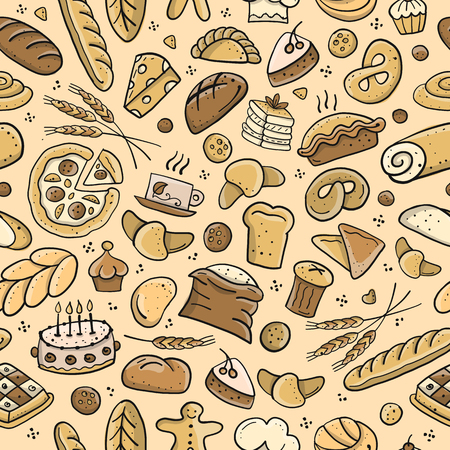 Bakery seamless pattern, sketch background for your design. Vector illustration Vector Illustration