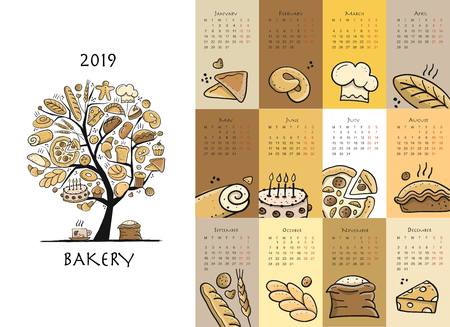 Bakery, calendar 2019 design, vector illustration.