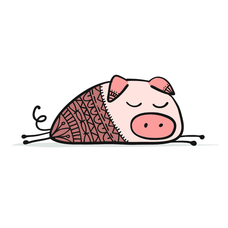 Cute piggy for your design. Vector illustration Stock Photo