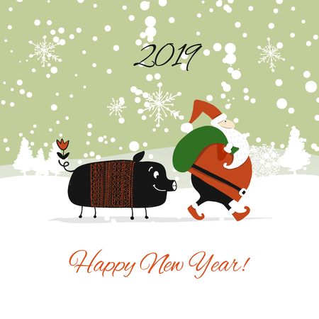Christmas card, santa pig in forest. Symbol of 2019. Vector illustration Illustration