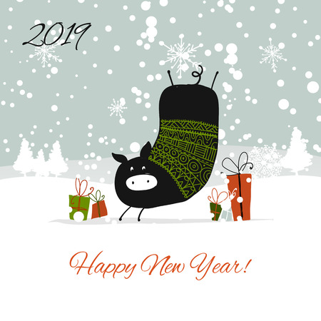Christmas card, santa pig in forest. Symbol of 2019. Vector illustration Ilustrace