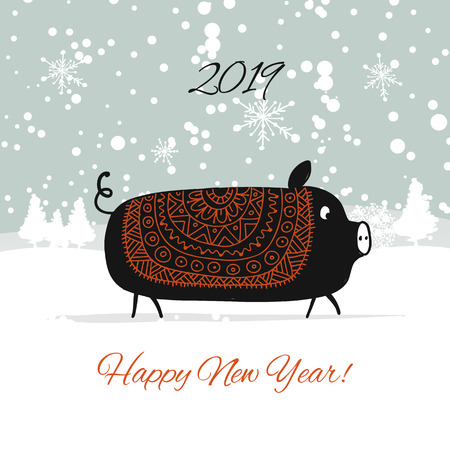 Christmas card, santa pig in forest. Symbol of 2019. Vector illustration Çizim