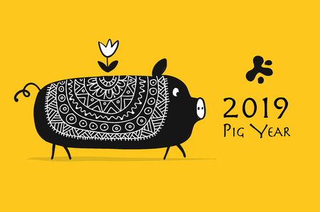Cute piggy silhouette, symbol of 2019 year for your design. Vector illustration Иллюстрация