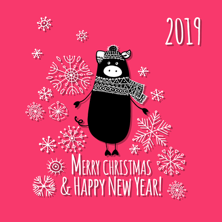 Christmas card with funny pig, symbol of 2019 year for your design. Vector illustration Illustration