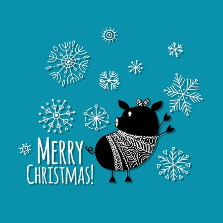 Christmas card with funny pig, symbol of 2019 year for your design. Vector illustration Stock Vector - 112003584