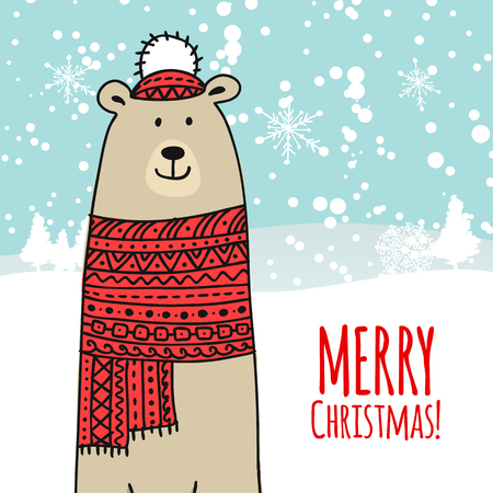 Christmas card with white santa bear. Vector illustration Stock Illustratie