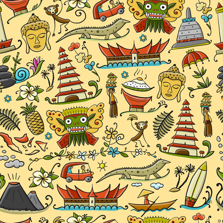 Travel to Indonesia. Seamless pattern for your design. Vector illustration Stok Fotoğraf - 112054372