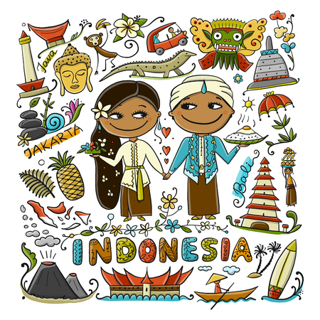 Travel to Indonesia. Greeting card for your design. Vector illustration 免版税图像